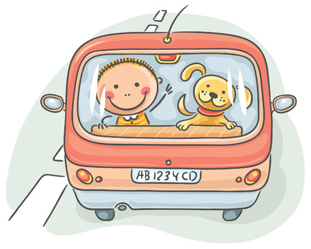 farewell: Rear view of the car with a child and a dog Illustration
