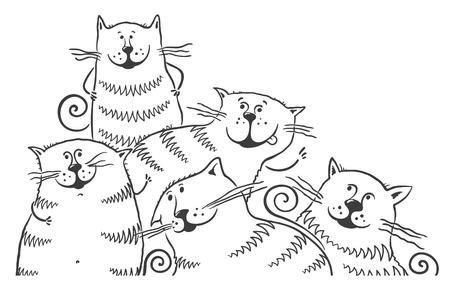 Gatti del fumetto in bianco e nero Archivio Fotografico - 31896208