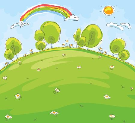 environment drawing: Cartoon landscape, imitation of a child