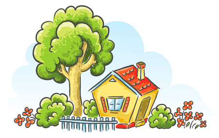 Cartoon house with a little gardentree Illustration