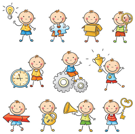 Cartoon child with different objects Vector