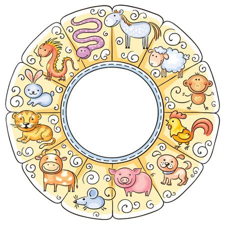 serpiente caricatura: Signos del zodiaco chino, no degradados