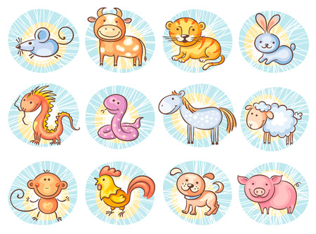 zodiac signs: Chinese zodiac signs, no gradients