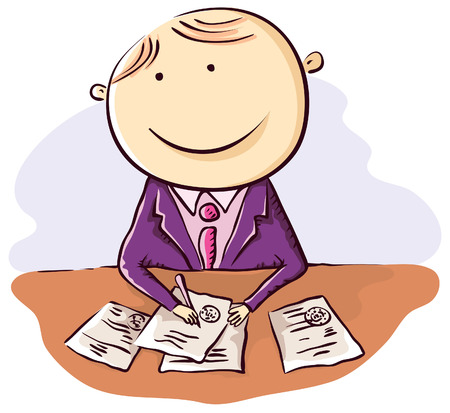 signing document: Friendly cartoon clerk with papers Illustration