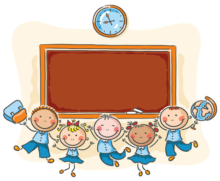 Happy schoolkids with a blackboard with a copy space Vector