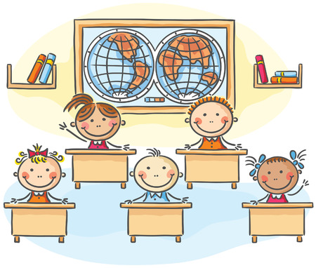 children classroom: Kids in the classroom at the lesson