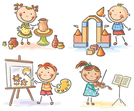 Kids engaged in different creative activities Vektoros illusztráció