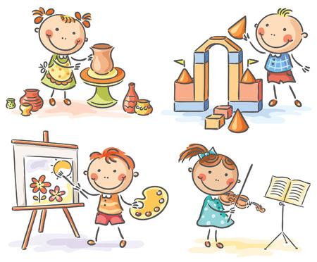 Los niños que participan en diferentes actividades creativas Ilustración de vector