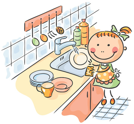 Little girl helping her mother to wash the dishes Vector