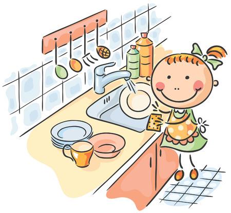 lavar trastes: Niña ayudando a su madre a lavar los platos