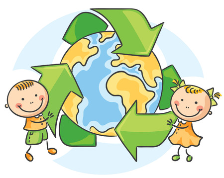niños reciclando: Conservación del ambiente, los niños con el símbolo de reciclaje Vectores