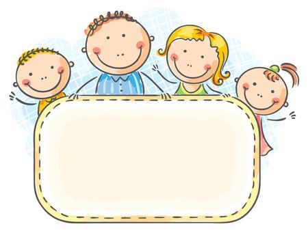 Gelukkig gezin met twee kinderen met een leeg frame