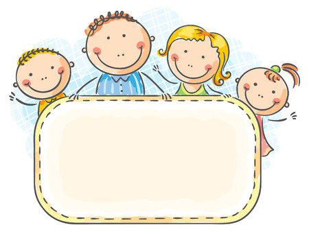 family with two children: Happy family with two children with a blank frame