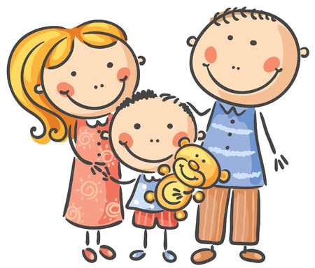 family with one child: Happy family with one child, isolated on white Illustration