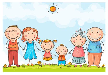 Gelukkig gezin met twee kinderen Stock Illustratie