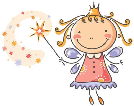 Little cartoon fairy with magic stick Stock Illustratie
