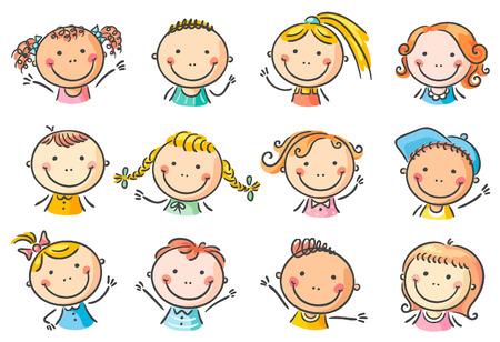 cartoon kids set of 12 happy cartoon kids faces - Cartoon Picture Of Child
