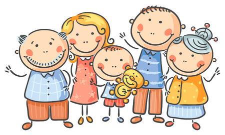 Happy family of five, no gradients Ilustração
