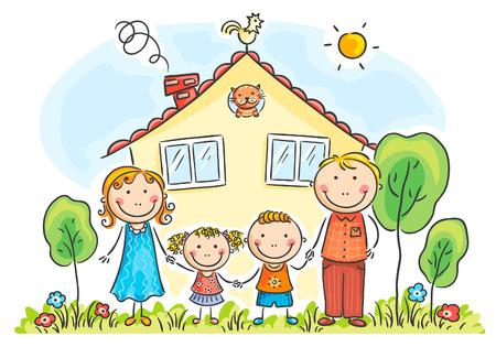 Gezin met twee kinderen in de buurt van hun huis