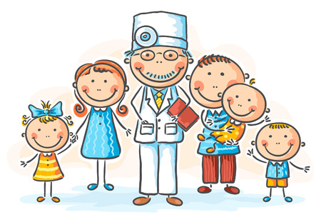 patients: Family doctor with his patients Illustration