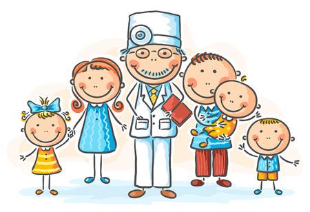 pacientes: Médico de familia con sus pacientes Vectores