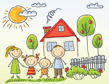 전원시의: 자신의 집 근처에서 행복 한 가족 일러스트