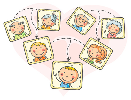 Happy family tree in pictures Иллюстрация