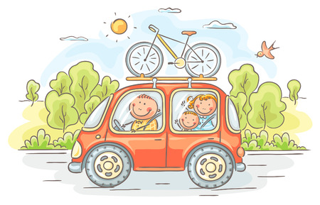 Happy family travelling by car in the countryside