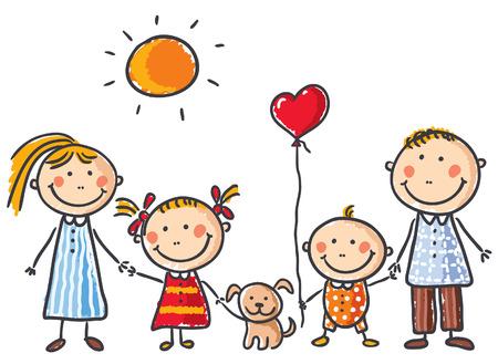 zeichnung: Glückliche Familie mit zwei Kindern und einem Welpen