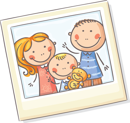 family picture: Happy family photo, no gradients Illustration