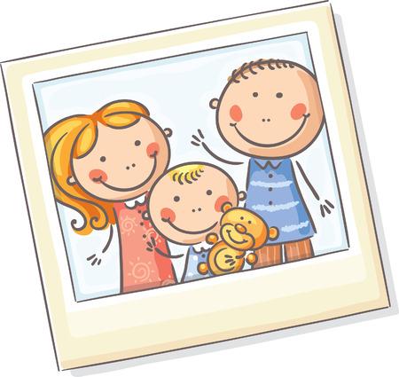 Happy family photo, no gradients Illustration