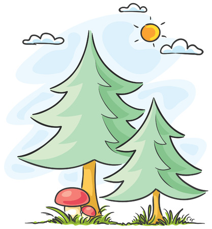 firtrees: Two fir-trees and two mushrooms Illustration