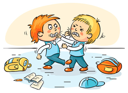 Two cartoons schoolboys are fighting