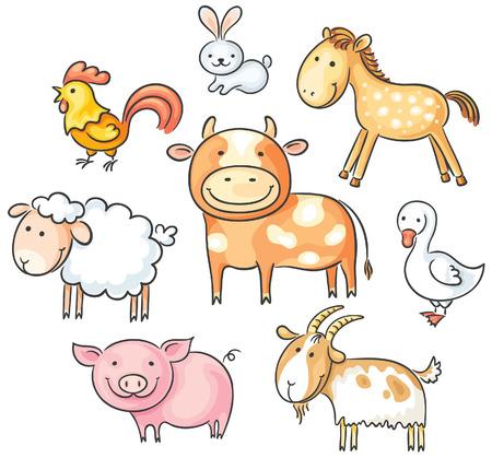 Set of cute cartoon farm animals Vector