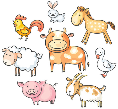 Set of cute cartoon farm animals Иллюстрация