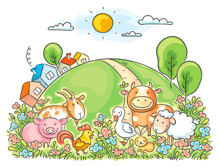 animal cartoon: Farm animals and the green hill