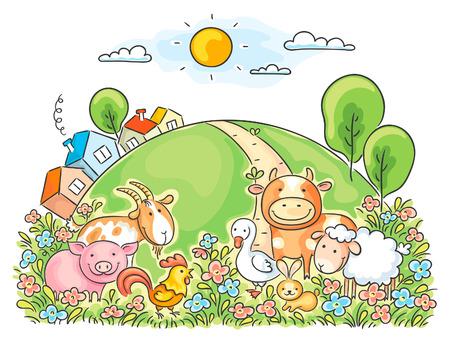 Tiere auf dem Bauernhof und die grünen Hügel Standard-Bild - 31896322