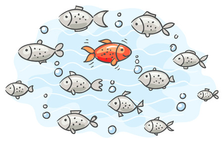 one way: One fish goes its own way and has its own opinion Illustration