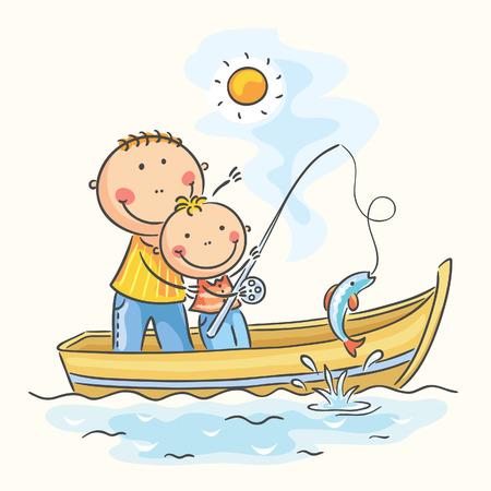 父と息子、ボートの釣り
