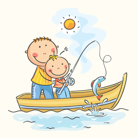 Father and son in the boat, fishing Stock Illustratie