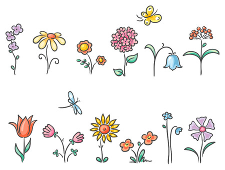 Isolated cartoon flowers of different kinds