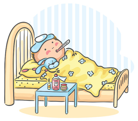 A child has got flu and is lying in bed with a thermometer