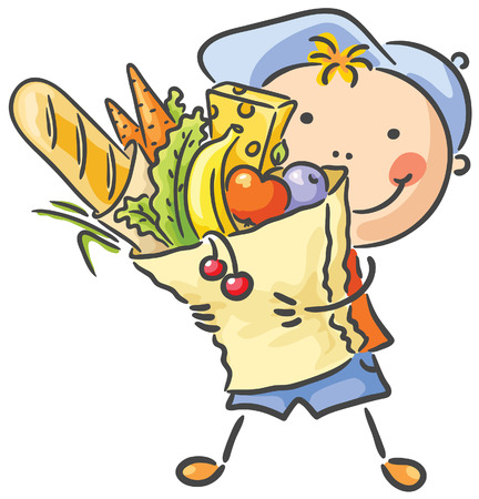 Happy child with a big bag full of food Vector