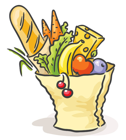 Paper bag with different food, no gradients Vector