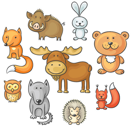 Set of cartoon wild forest animals