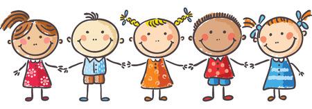 manos entrelazadas: Cinco niños pequeños cogidos de la mano