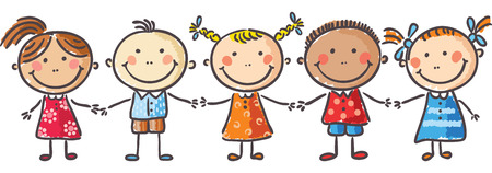 brother and sister cartoon: Five little kids holding hands