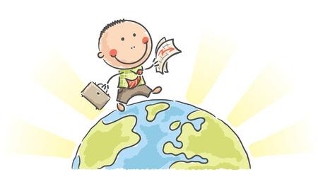 planeta tierra feliz: Empresario de dibujos animados caminando en la Tierra con un gráfico y un caso
