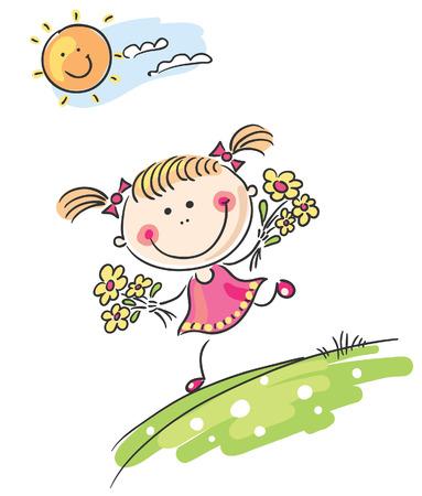 cartoon little girl: Happy cartoon girl playing outdoors Illustration