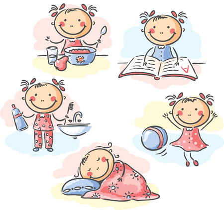 studying: Cartoon little girl Illustration